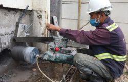 Steps to drill concrete core in Thai Tri